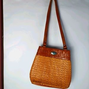 American West Leather Turquoise Woven shoulder bag